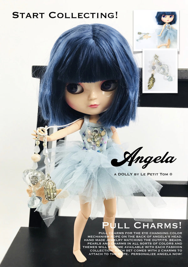 ANGELA Doll PULL CHARMS BLUE BIRD LEAF-dolls-DOLLY by Le Petit Tom ®