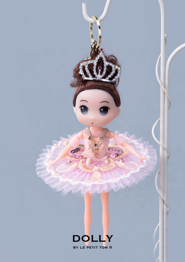 [ OUTLET] DOLLY's BALLERINA KEYRING DOLL WITH A HANDMADE PANCAKE TUTU K113 brunette pink