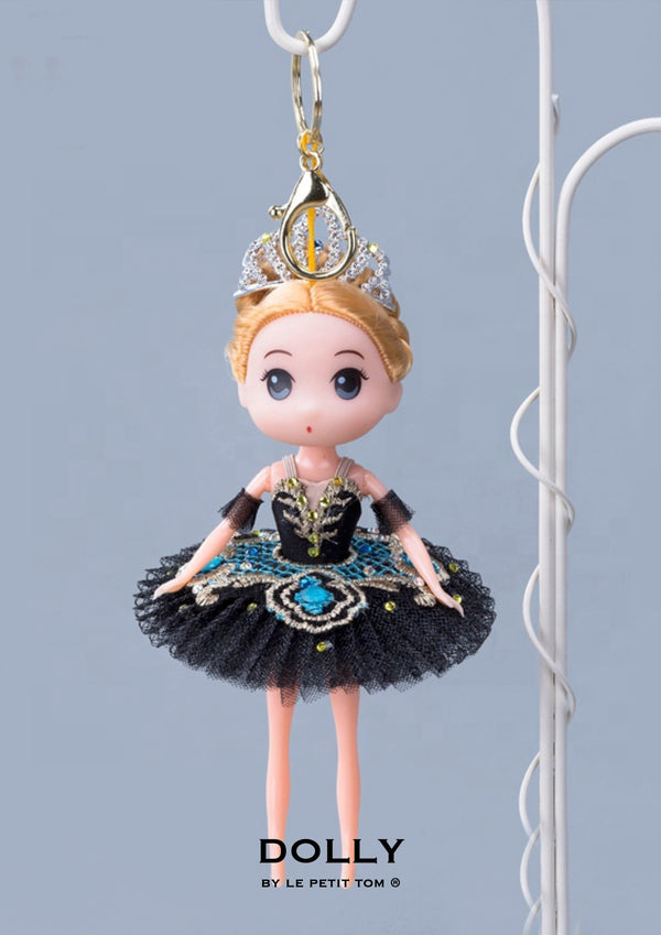 [ OUTLET] DOLLY's BALLERINA KEYRING DOLL WITH A HANDMADE PANCAKE TUTU K112 black