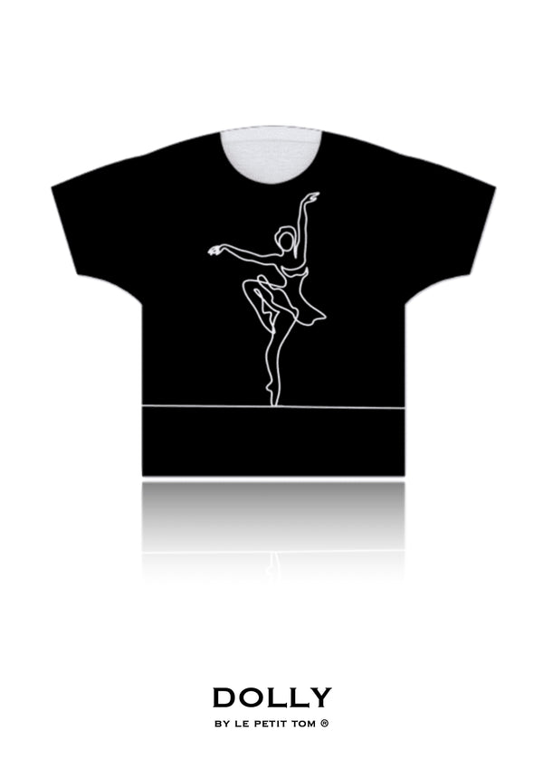 GIRLS T-SHIRT I AM DOLLY BALLERINA black