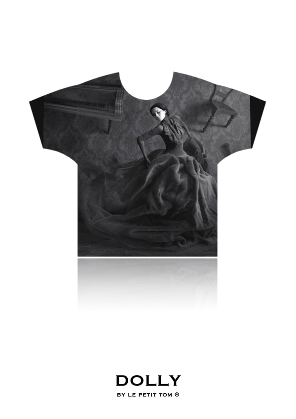 DOLLY GIRLS T-SHIRT QUEEN OF CONTRAST black