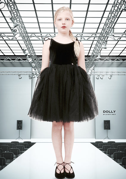 DOLLY by Le Petit Tom ® VELVET SABRINA TUTU dress black