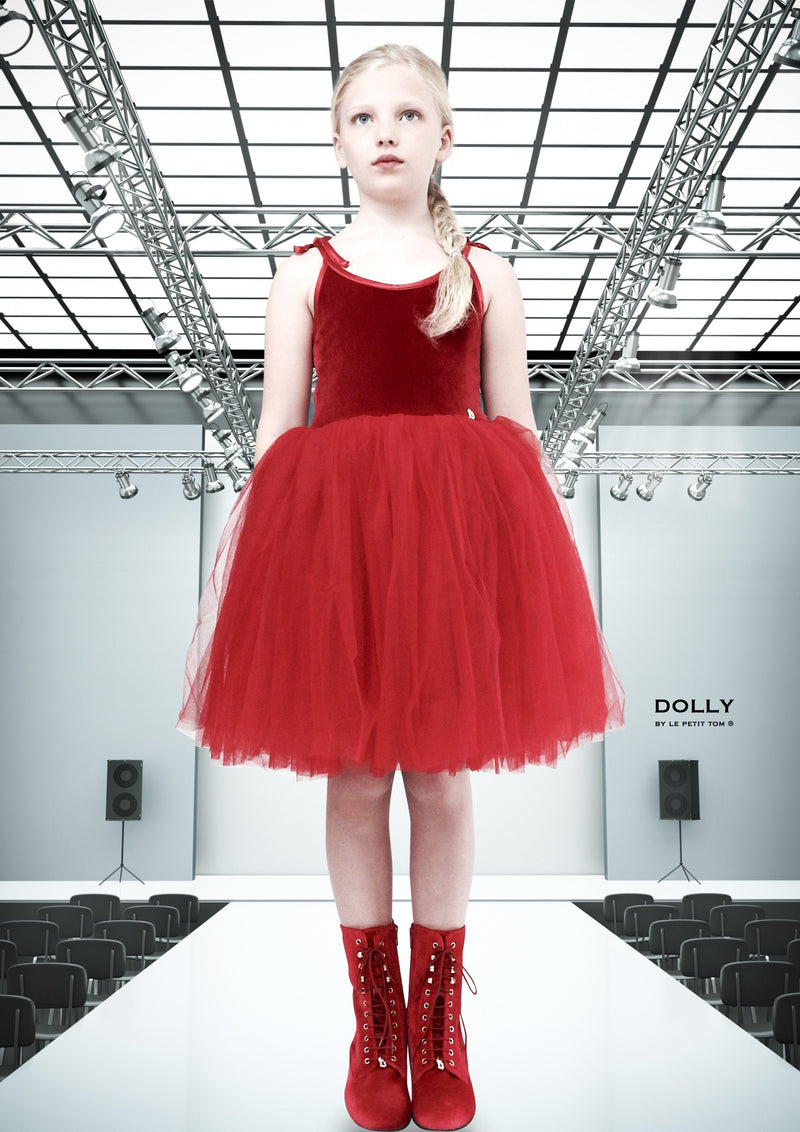 DOLLY by Le Petit Tom ® VELVET SABRINA TUTU dress red - DOLLY by Le Petit Tom ®