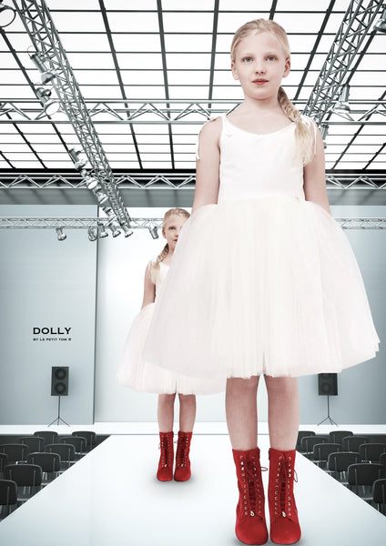 DOLLY by Le Petit Tom ® VELVET SABRINA TUTU dress off-white