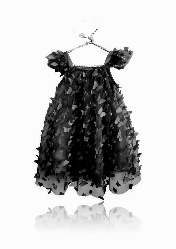 DOLLY by Le Petit Tom ® ALLOVER BUTTERFLIES TUTU DRESS black