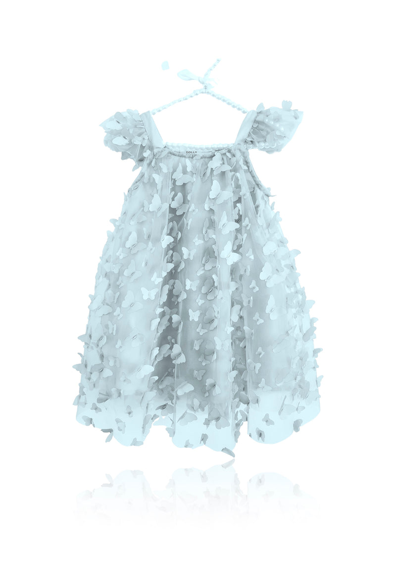 DOLLY by Le Petit Tom ® ALLOVER BUTTERFLIES TUTU DRESS light blue
