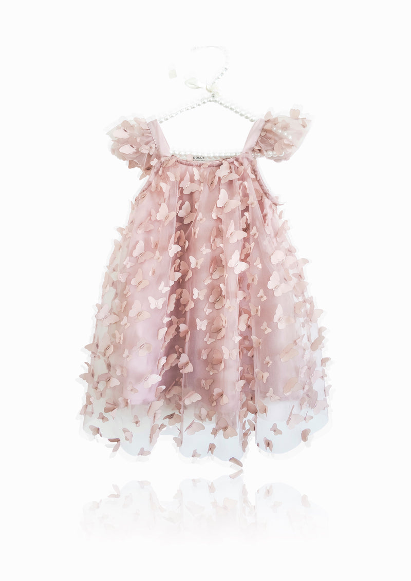 DOLLY by Le Petit Tom ® ALLOVER BUTTERFLIES TUTU DRESS pink