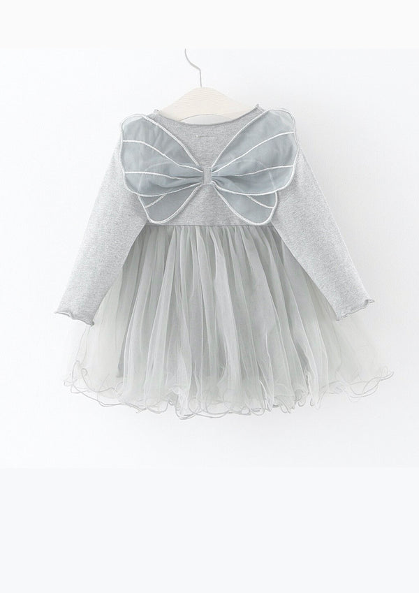 DOLLY by Le Petit Tom ® BUTTERFLY WINGS TUTU DRESS silver grey