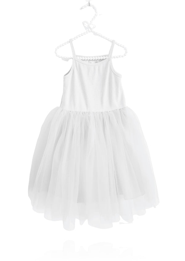DOLLY by Le Petit Tom ® RIB COTTON TUTU DRESS white
