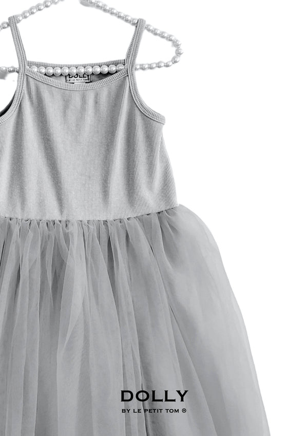 DOLLY by Le Petit Tom ® RIB COTTON TUTU DRESS silver grey