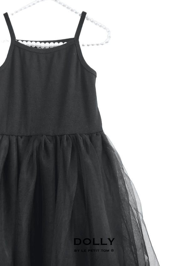 DOLLY by Le Petit Tom ® RIB COTTON TUTU DRESS black