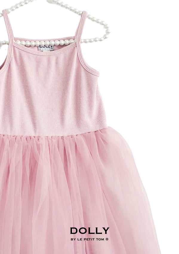DOLLY by Le Petit Tom ® RIB COTTON TUTU DRESS pink