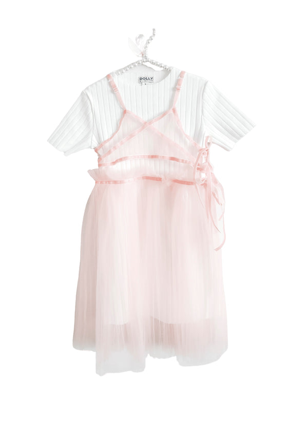DOLLY by Le Petit Tom ® TWO PIECE TULLE WRAP DRESS pink