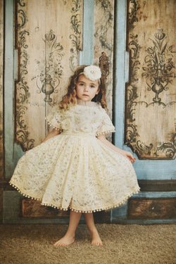 [ PRE ORDER !] DOLLY by Le Petit Tom ® JEWELER'S CRYSTALS Diamonds & Pearls Lace dress with pompoms