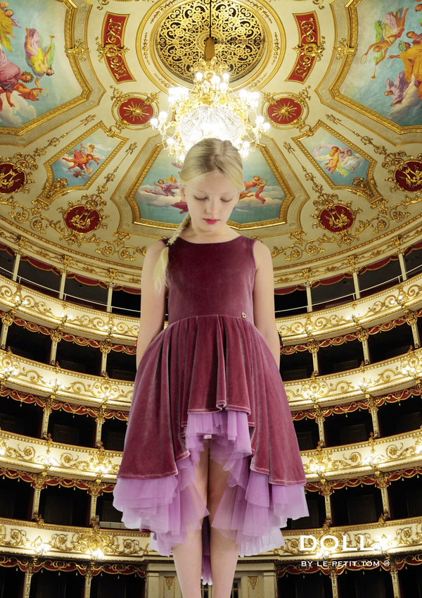 DOLLY by Le Petit Tom ® VELVET DUCHESS DRESS mauve - DOLLY by Le Petit Tom ®
