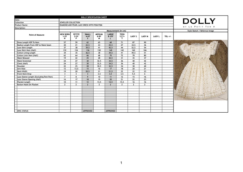 [OUTLET1] DOLLY JEWELER'S CRYSTALS Diamonds & Pearls Lace dress with pompoms black