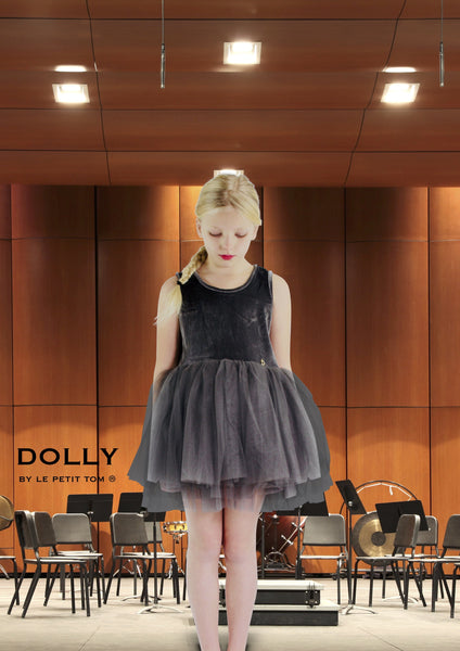 DOLLY by Le Petit Tom ® VELVET ESSENTIAL TUTU DRESS dark grey - DOLLY by Le Petit Tom ®