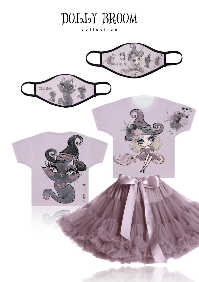 DOLLY BROOM BREATHABLE FASHION FACE MASK MOUTH CAP ( Set of 2) DOLL & CAT