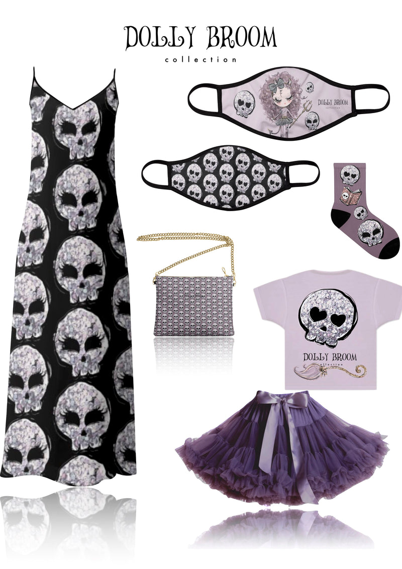[OUTLET] DOLLY BROOM BREATHABLE FASHION FACE MASK MOUTH CAP ( Set of 2) DOLL & GLITTER SKULLS