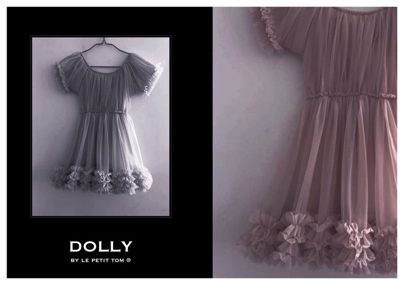 DOLLY by Le Petit Tom ® FRILLY DRESS mauve - DOLLY by Le Petit Tom ®