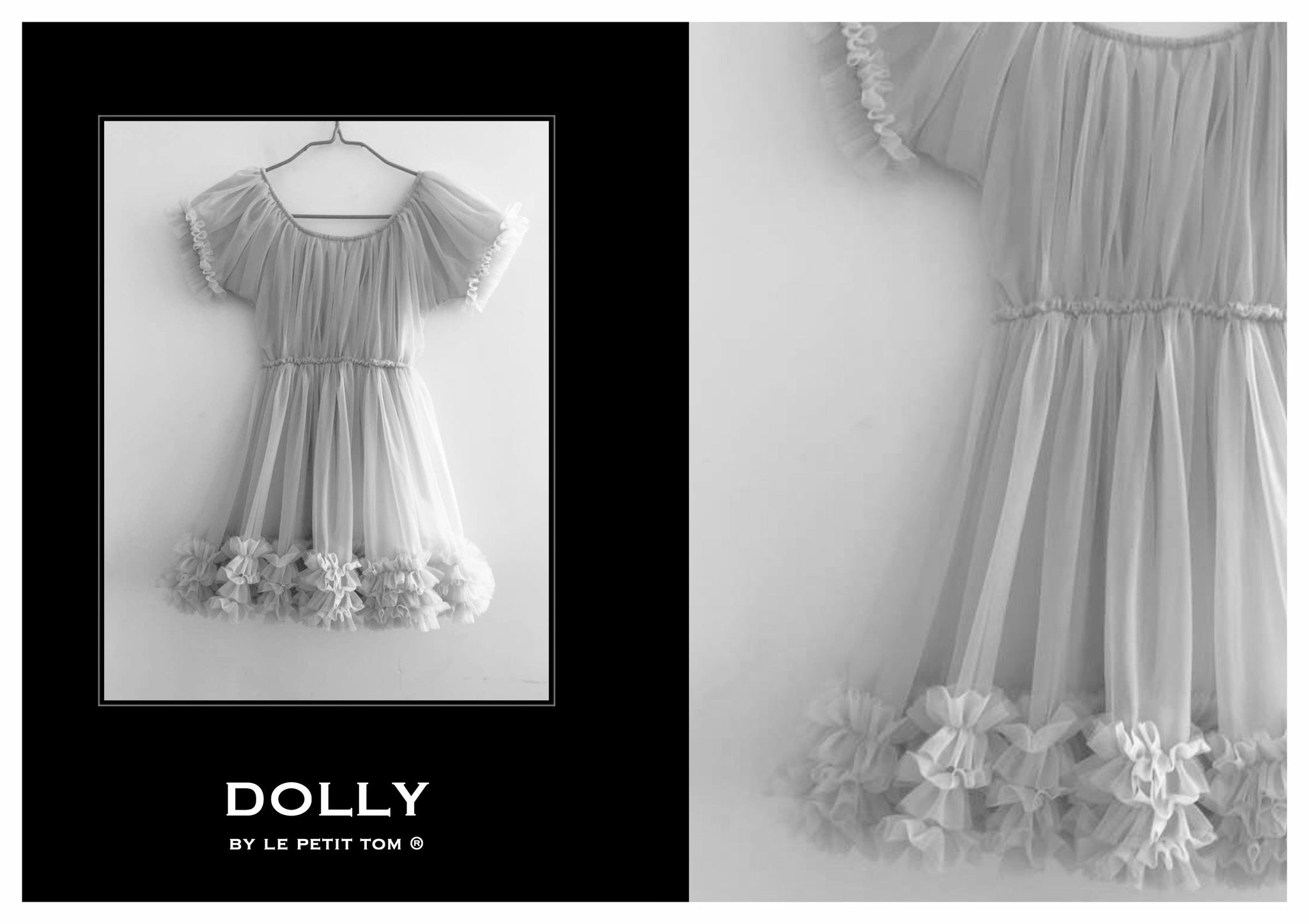 DOLLY by Le Petit Tom ® FRILLY DRESS silvergrey