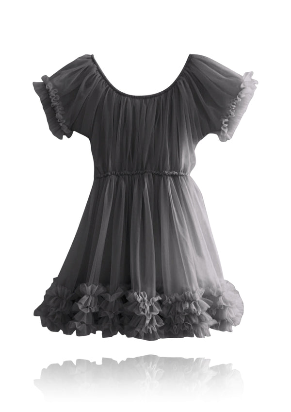 DOLLY by Le Petit Tom ® FRILLY DRESS dark grey - DOLLY by Le Petit Tom ®