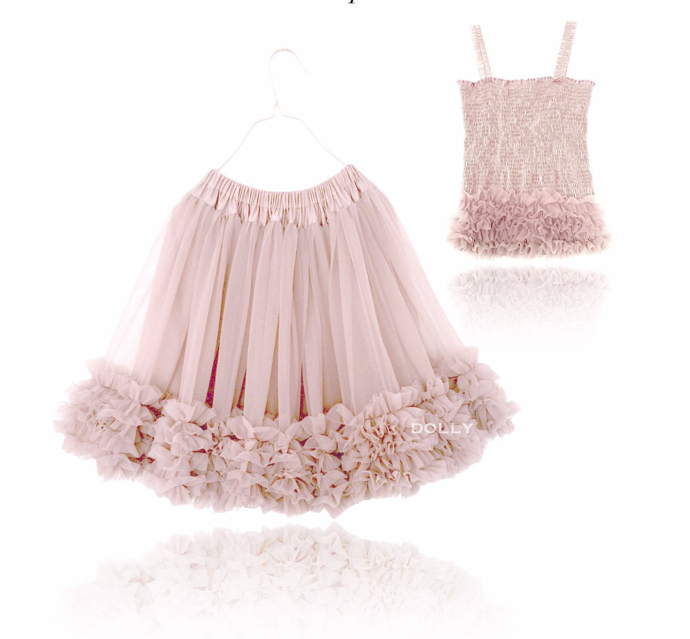 DOLLY by Le Petit Tom ® FRILLY SET SKIRT & TOP ballet pink - DOLLY by Le Petit Tom ®