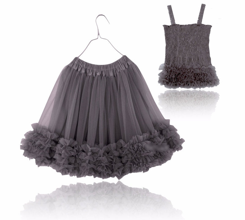 DOLLY by Le Petit Tom ® FRILLY SET SKIRT & TOP dark grey - DOLLY by Le Petit Tom ®
