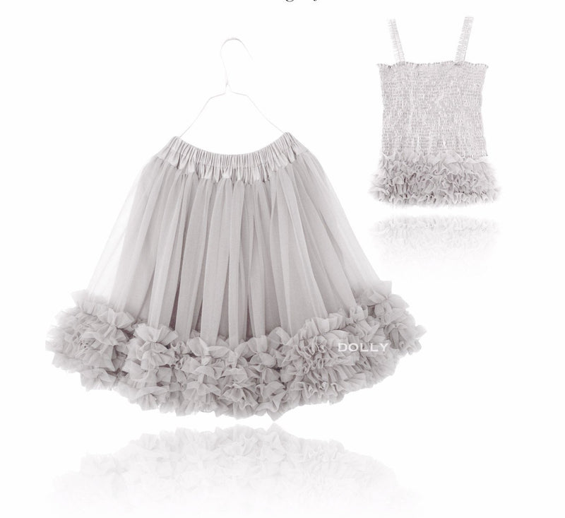 DOLLY by Le Petit Tom ® FRILLY SET SKIRT & TOP silvergrey - DOLLY by Le Petit Tom ®