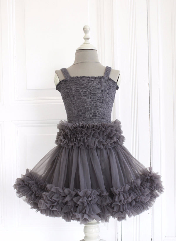 DOLLY by Le Petit Tom ® FRILLY SKIRT dark grey - DOLLY by Le Petit Tom ®