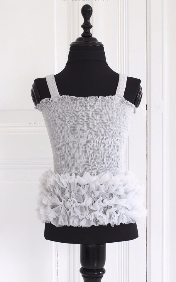 DOLLY by Le Petit Tom ® FRILLY TOP silvergrey - DOLLY by Le Petit Tom ®