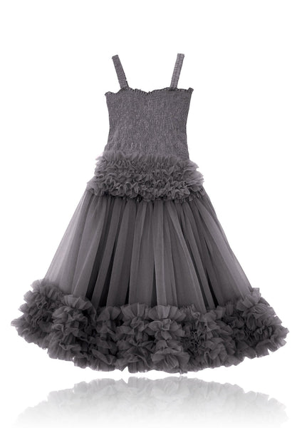 DOLLY by Le Petit Tom ® FRILLY SET SKIRT & TOP dark grey