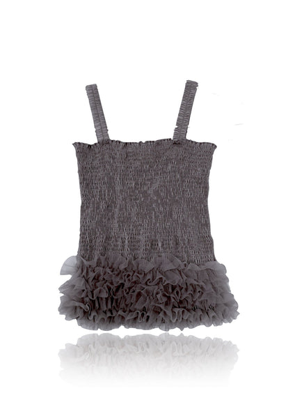DOLLY by Le Petit Tom ® FRILLY TOP dark grey - DOLLY by Le Petit Tom ®