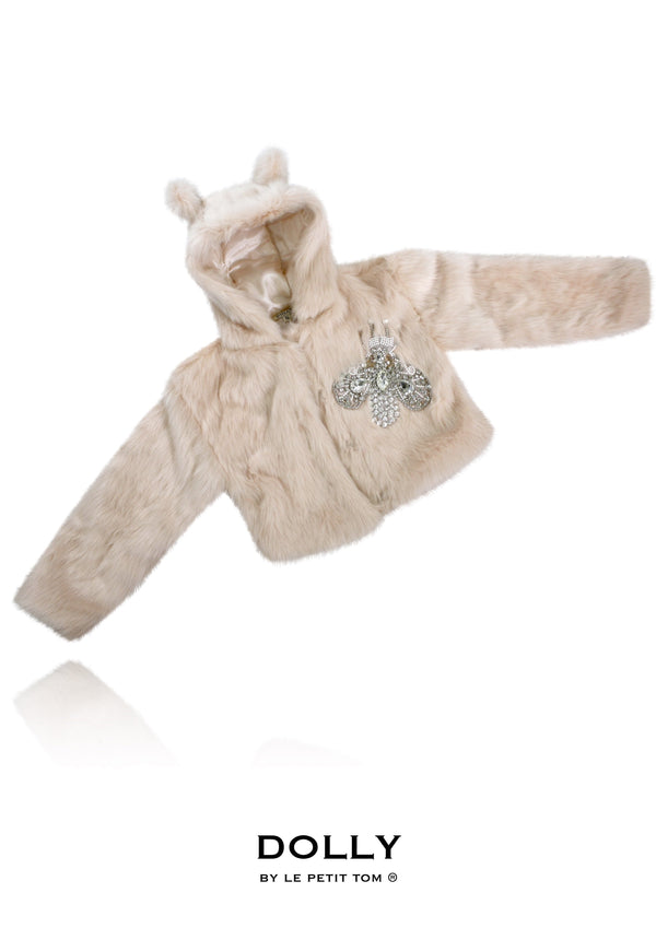 DOLLY by Le Petit Tom ® FLAMINGO fur hooded jacket with ears ballet pink - DOLLY by Le Petit Tom ®