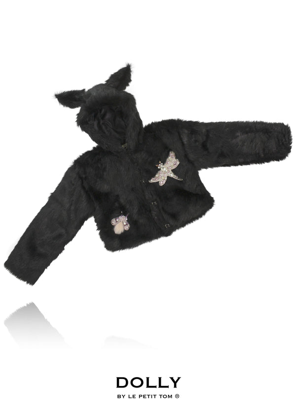 DOLLY by Le Petit Tom ® BLACK PANTHER fur hooded jacket with ears black - DOLLY by Le Petit Tom ®
