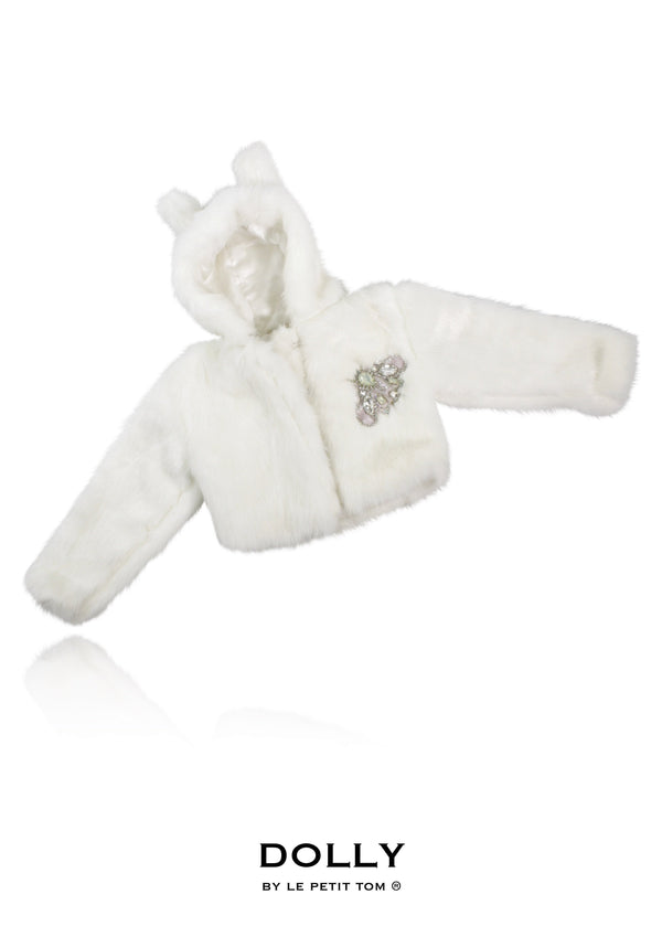 DOLLY by Le Petit Tom ® ICE BEAR fur hooded jacket with ears white - DOLLY by Le Petit Tom ®