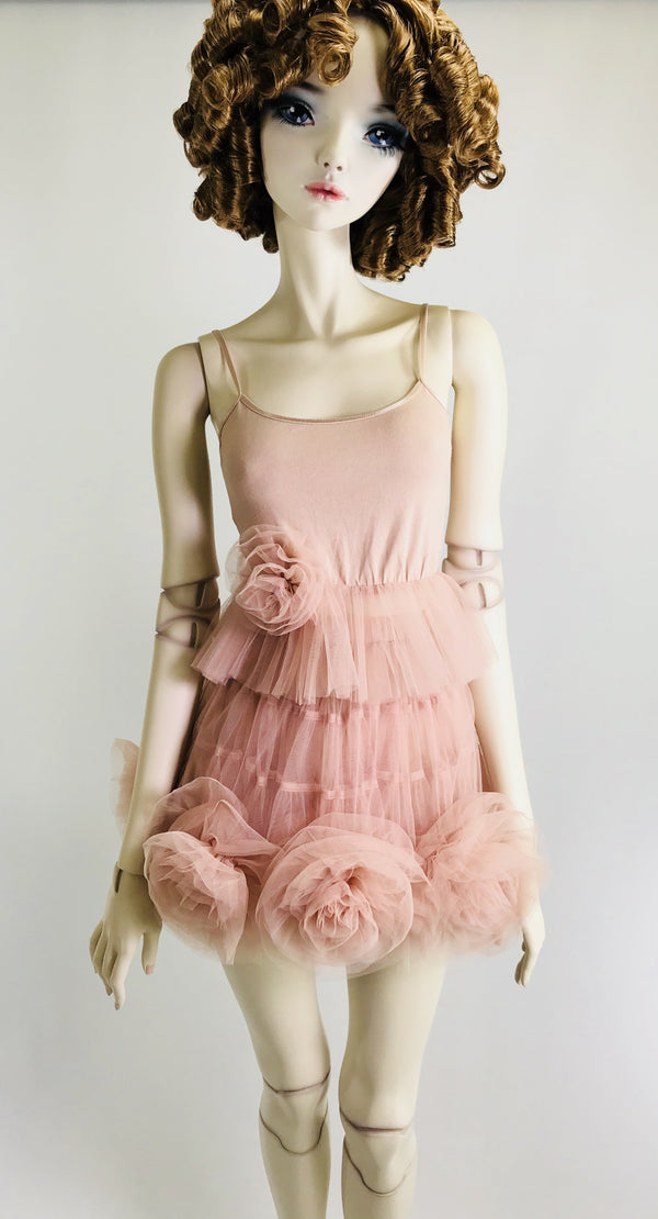 [ PRE ORDER *] DOLLY by Le Petit Tom ® Cami Top with Rosette ballet pink