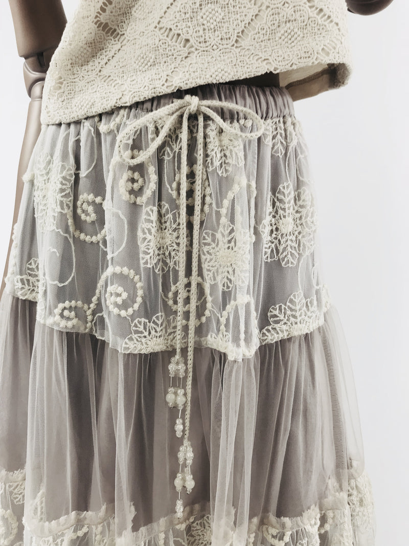 DOLLY by Le Petit Tom ® BOHO maxi skirt mauve - DOLLY by Le Petit Tom ®