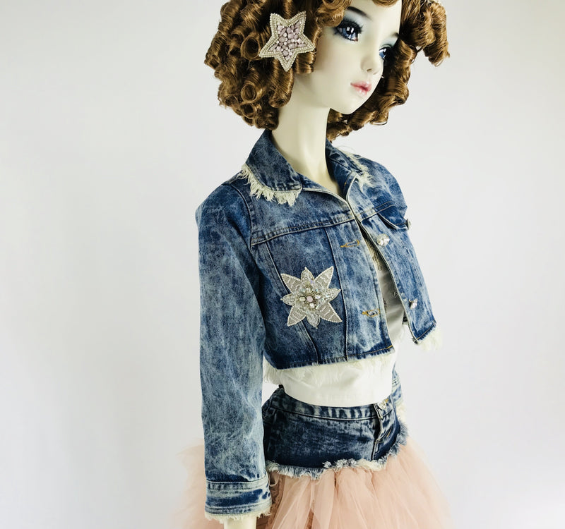 DOLLY by Le Petit Tom ® ANGELS star angel denim jacket - DOLLY by Le Petit Tom ®