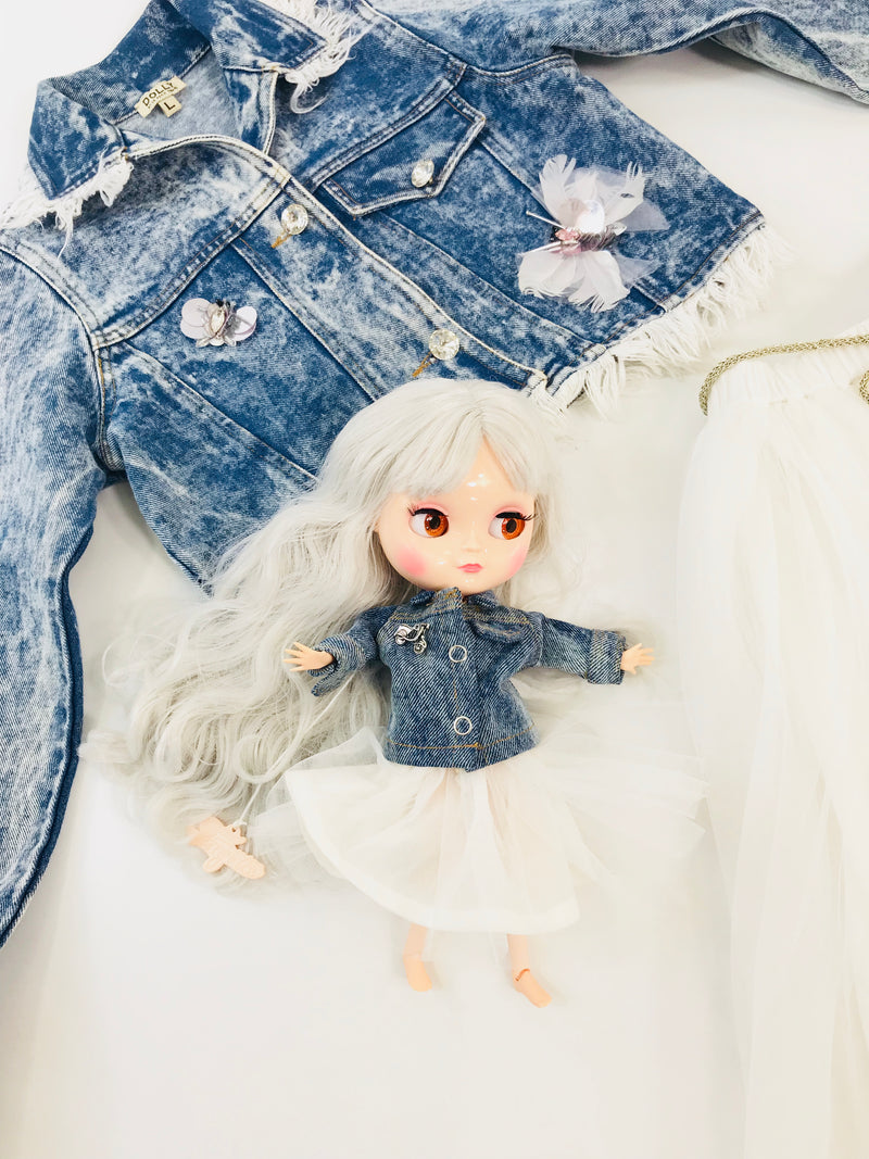 ANGELA Doll clothing DOLLY's DENIM JACKET with tulle rosette