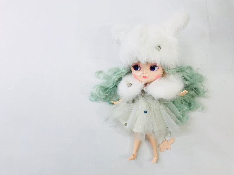 ANGELA Doll clothing DOLLY's FUR CAPE ICE BEAR white-dolls-DOLLY by Le Petit Tom ®