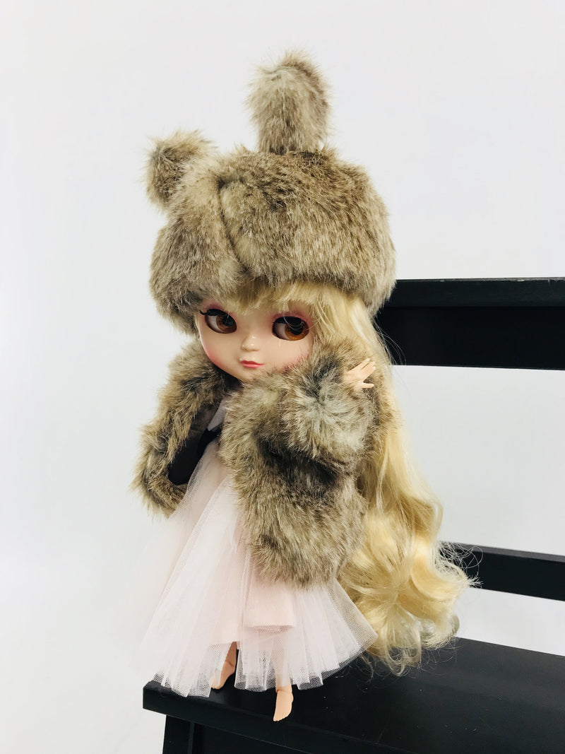 ANGELA Doll clothing DOLLY's FUR HAT WITH EARS WOLF mixed brown-dolls-DOLLY by Le Petit Tom ®