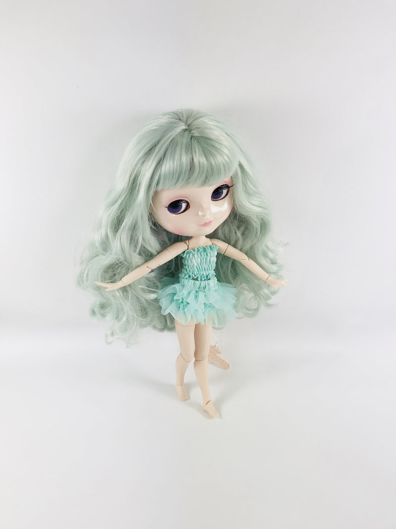 ANGELA Doll TURQUOISE/ TIFFANY GREEN incl. Dolly Fashion & Doll Carrier bag