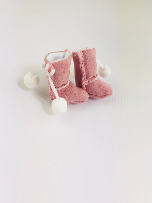 ANGELA Doll FAUX SUEDE ANKLE BOOTS WITH POM POMS pink