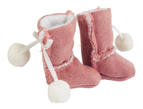 ANGELA Doll FAUX SUEDE ANKLE BOOTS WITH POM POMS pink-dolls-DOLLY by Le Petit Tom ®