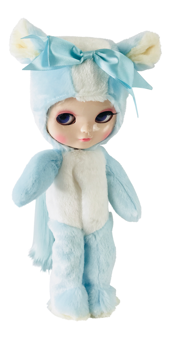 ANGELA Doll ONESIE ANIMAL SUIT 'Cherie Babette' BEAR COSTUME blue