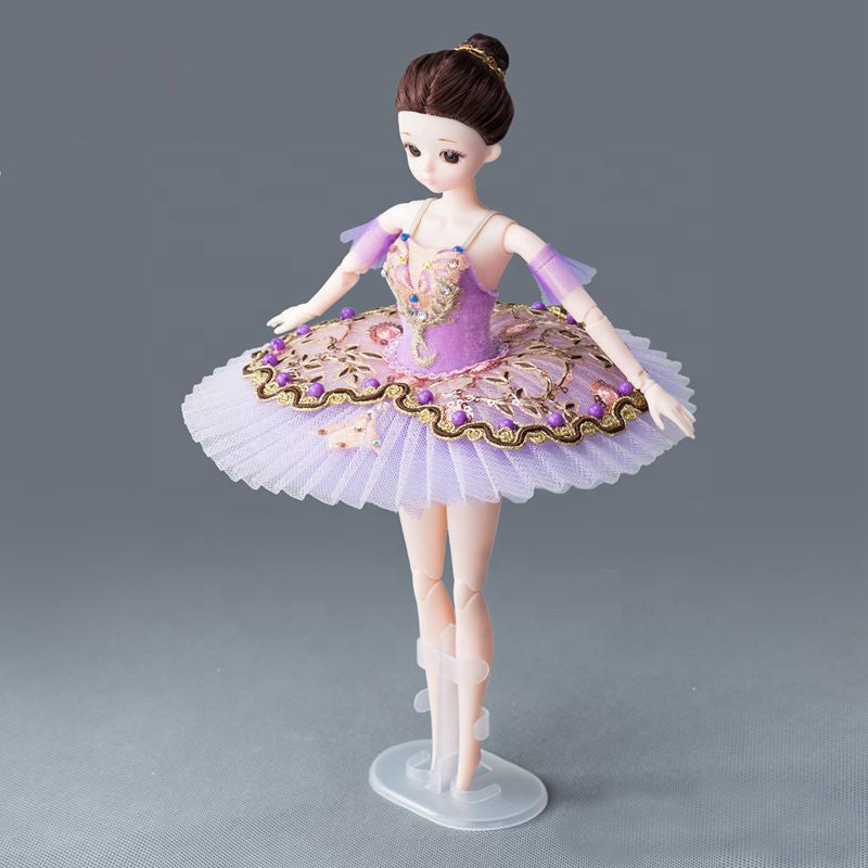 DOLLY's BALLERINA DOLL WITH A HANDMADE MINI PANCAKE TUTU T002 purple