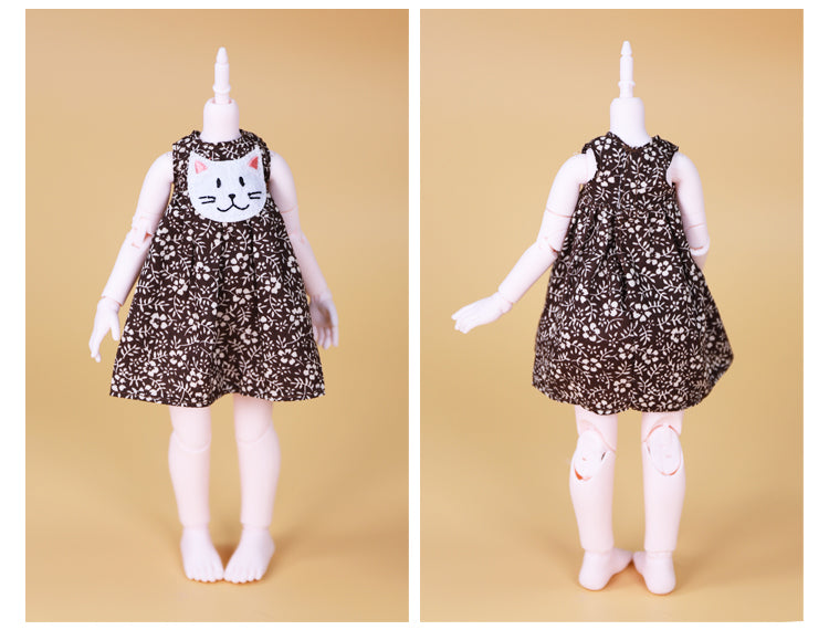DOLL CLOTHING A11 for LUCKY Doll Bjd 1/6  dress with cat application