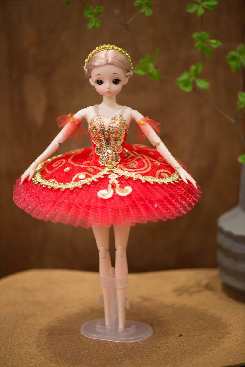 [ OUTLET] DOLLY's BALLERINA DOLL WITH A HANDMADE MINI PANCAKE TUTU  T010 red
