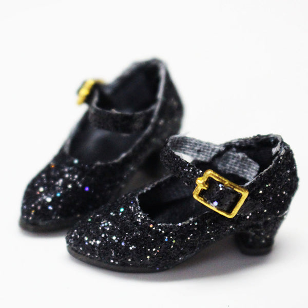 ANGELA Doll GLITTER PUMPS SHINY HEELS SHOES black